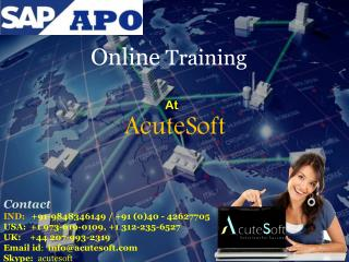 SAP APO course content from AcuteSoft