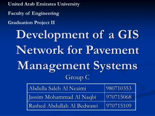 Development of a GIS Network for Pavement Management Systems