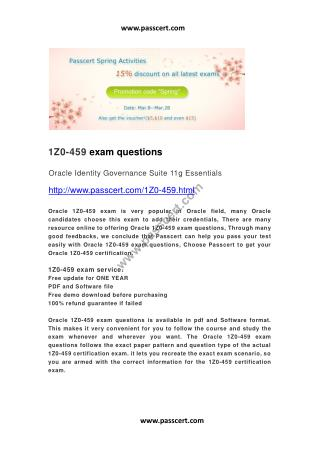 Oracle 1Z0-459 exam questions