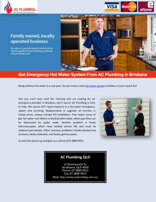 Get Emergency Hot Water System From AC Plumbing in Brisbane