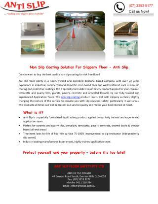 Non Slip Coating Solution For Slippery Floor - Anti Slip