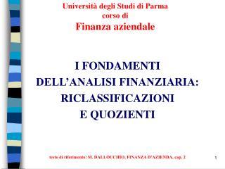 Universit  degli Studi di Parma corso di  Finanza aziendale