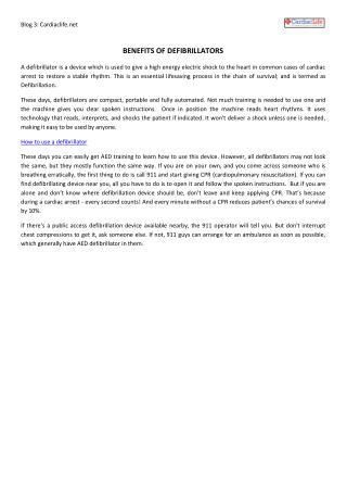 Benefits of Defibrillators