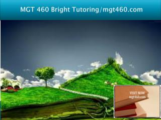 MGT 460 Bright Tutoring/mgt460.com