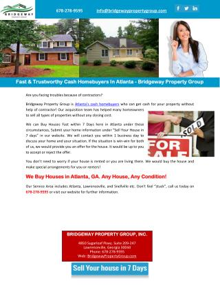 Fast & Trustworthy Cash Homebuyers In Atlanta - Bridgeway Property Group
