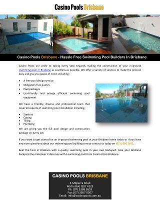 Casino Pools Brisbane - Hassle Free Swimming Pool Builders In Brisbane