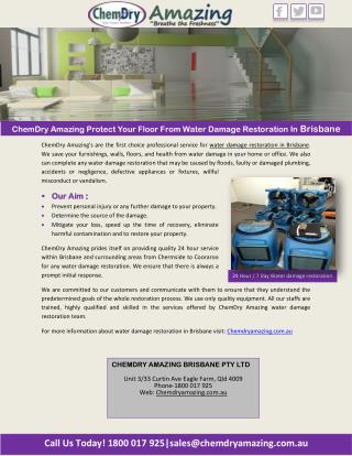 ChemDry Amazing Protect Your Floor From Water Damage Restoration In Brisbane