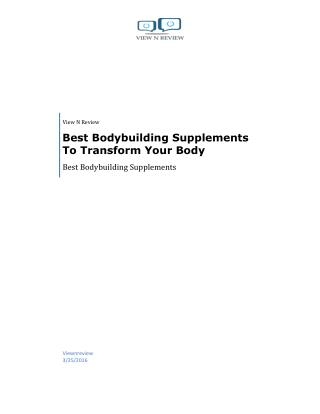 Best Bodybuilding Supplements To Transform Your Body