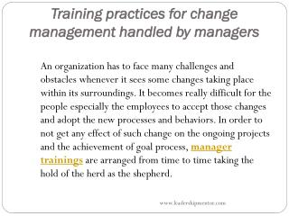 Training practices for change management handled by managers