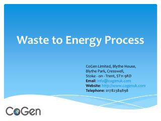Advanced Gasification Technology of Waste to Energy by CoGen