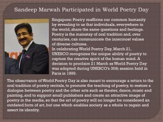 Sandeep Marwah Participated in World Poetry Day