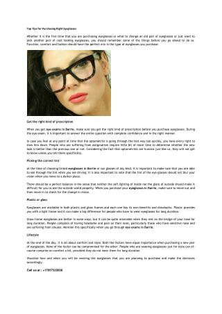 Top Tips for Purchasing Right Eyeglasses