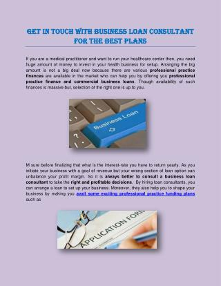Get In Touch With Business Loan Consultant for the Best Plans