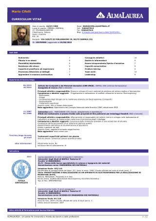 Cv Mario Cifelli Ing. Dei Materiali