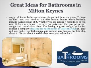 Great Ideas for Bathrooms in Milton Keynes