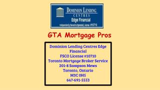 Toronto Mortgage Broker Service - Dominion Lending Centres Edge Financial