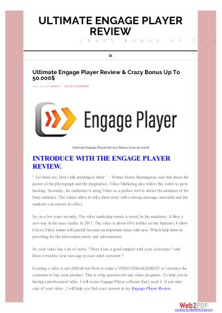 Engage Player Review - The Easiest Software To Makr An Awensome Video
