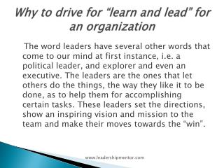 "Why to drive for ""learn and lead"" for an organization"
