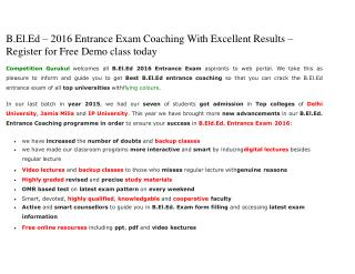 B.El.Ed – 2016 Entrance Exam Coaching With Excellent Results – Register for Free Demo class today