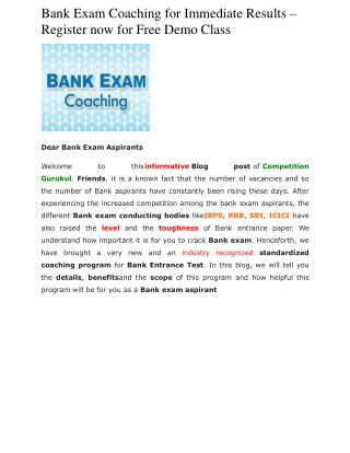 Bank Exam Coaching for Immediate Results � Register now for Free Demo Class