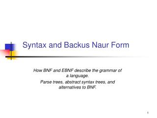 Syntax and Backus Naur Form