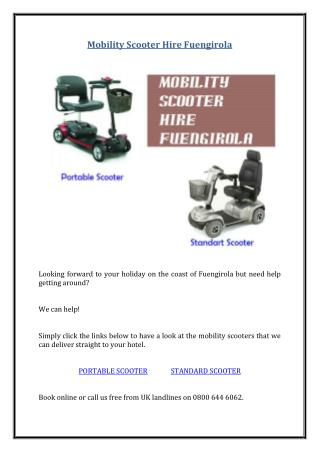 Mobility Scooter Hire Fuengirola
