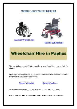 Wheelchair Hire in Paphos