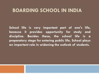 Boarding School in India