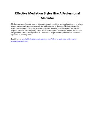 Effective Mediation Styles: Hire A Professional Mediator