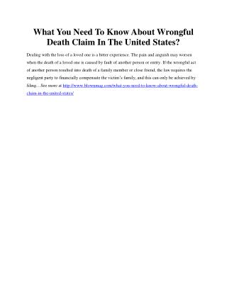What You Need To Know About Wrongful Death Claim In The United States?