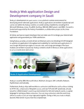 Node.js Web application Design and Development company in Saudi