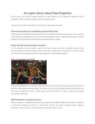 An expert advice about Pune Properties