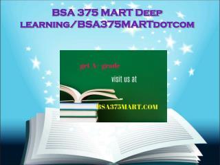 BSA 375 MART Deep learning/bsa375martdotcom