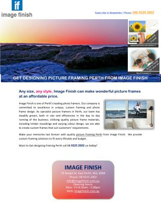 GET DESIGNING PICTURE FRAMING PERTH FROM IMAGE FINISH
