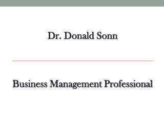 Dr. Donald Sonn - Business Management Professional