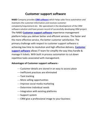 Customer support software   nabds