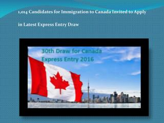 1,014 Candidates for Immigration to Canada Invited to Apply in Latest Express Entry Draw