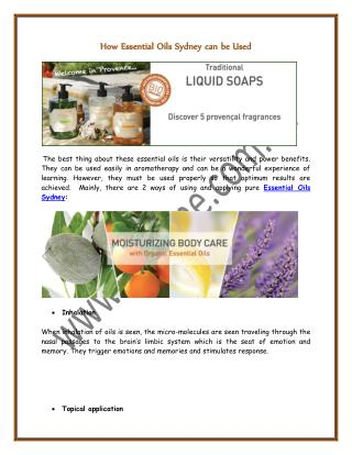 How Essential Oils Sydney can be Used