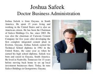 Joshua Safeek Doctor Business Administration