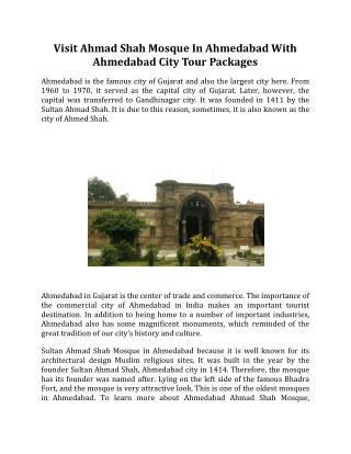 Visit Ahmad Shah Mosque In Ahmedabad With Ahmedabad City Tour Packages