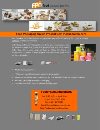 Food Packaging Online Present Best Plastic Containers