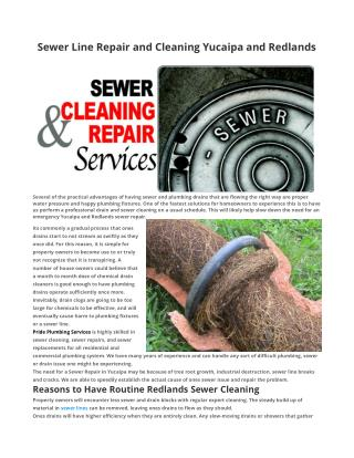 Sewer Line Repair and Cleaning Yucaipa and Redlands