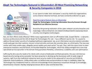 Aleph Tav Technologies featured in SiliconIndia's 20 Most Promising Networking & Security Companies in 2016