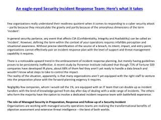 An eagle-eyed Security Incident Response Team: Here's what it takes