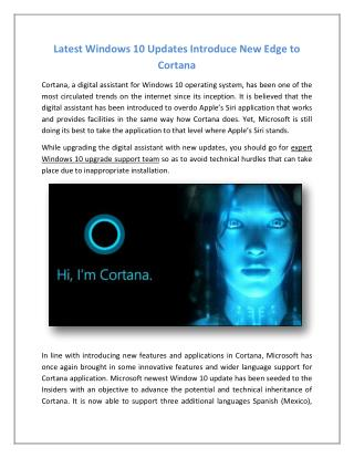 Latest Windows 10 Updates Introduce New Edge to Cortana
