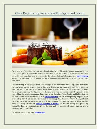 Obtain Party Catering Services from Well-Experienced Caterers
