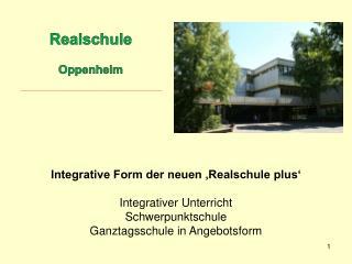 Integrative Form der neuen  Realschule plus   Integrativer Unterricht Schwerpunktschule Ganztagsschule in Angebotsform