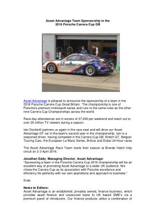 Asset Advantage Team Sponsorship in the 2016 Porsche Carrera Cup GB