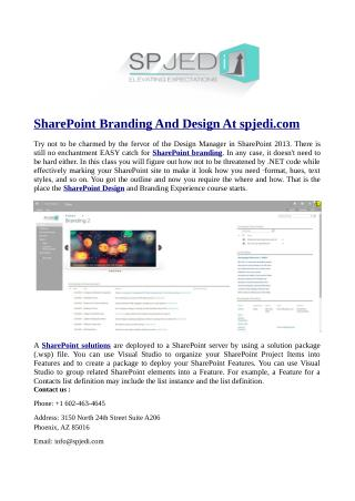 SharePoint Branding And Design At spjedi.com