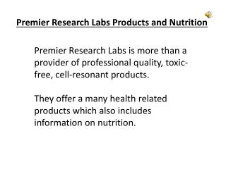 Premier Research Labs Products and Nutrition